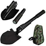 6 functions High Carbon steel Folding 16'' Hand Tool Survival Spade Emergency Military- Style Ideal Survival Mini Digging Tool Camping Hiking Fishing tools with Carrying Pouch HT7-10
