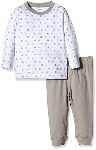 Twins Unisex Baby 2-teiliger Schlafanzug mit Sternchen-Oberteil, Gr. 86, Mehrfarbig (Weiss/Hellgrau 3204)