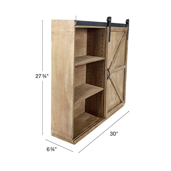 """Excello Global Products Shabby-Chic Rustic Barnwood Storage Cabinet: Includes Adjustable and Removable Shelves. 28"""" x 30"""" with Barn Door Decor."""