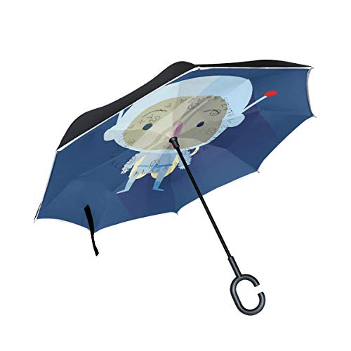 JIUMEI Inverted Umbrella C Handle,Cartoon Mummy Halloween Party Blue Background Car Reverse Umbrellas Double Layer Windproof UV Protection ()