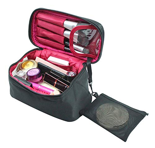 - Travel Makeup Case Bags Small Size,CLOTHOBEAUTY Cosmetic Makeup Bag Organizer for Women, Makeup Train Case, Travel Cosmetic Case, Big Capacity with Cute size, travel cube. (Black-red)