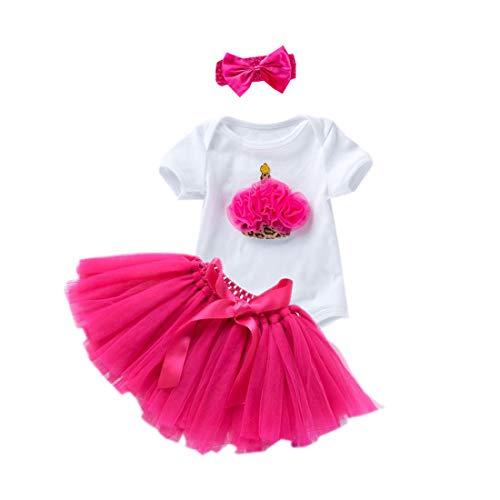 Baby Girls' 1st Birthday Bling One Cake Cream Romper Tutu Skirt Flower Headband (Hot Pink, 12M(9-12Months))