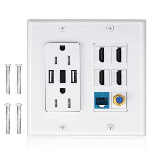 2 Power Outlet 15A with Dual 2.4A USB Charger Port Wall Plate with LED Lighting, IQIAN 4 HDMI HDTV + 1 CAT6 RJ45 Ethernet + Coaxial Cable TV F Type - Hdmi Outlet Wall