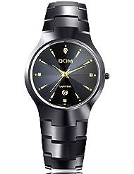 Findtime Brand Mens Luxury Black Tungsten Carbide Quartz Wrist watches