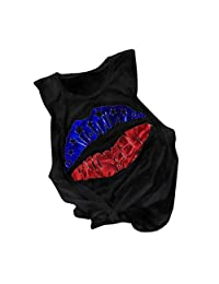 Large Size Independence Day American Flag Lips Vest Ladies Tops