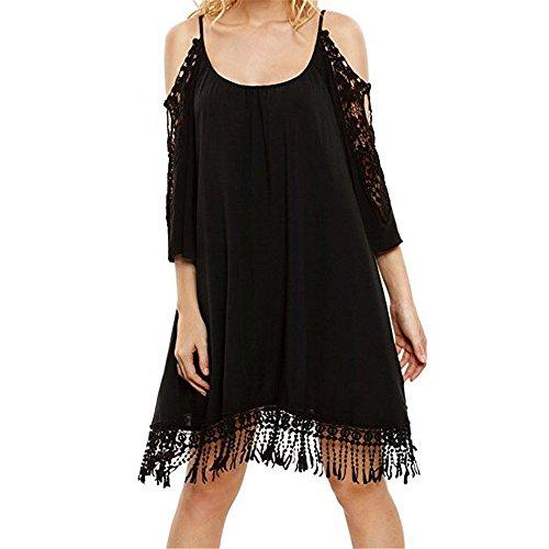 Mujer Vestimenta Xmy Hombros Vestido Relajados Negro Camiseta Femenino Casual Espalda Con De Nalgas qzwIzf