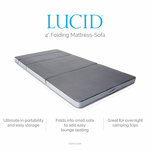 LUCID 4 Inch Folding Mattress - Queen Size