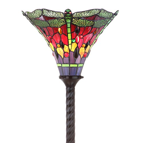 JONATHAN Y JYL8002B Dragonfly Tiffany-Style Torchiere Floor Lamp, Bronze/Green