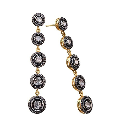 Pave Rose Cut Diamond Dangle Earrings 14k Gold Sterling Silver Jewelery by Jaipur Handmade Jewelry