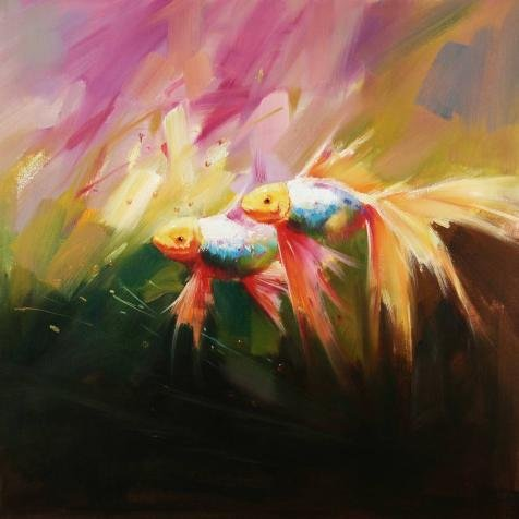 canvas-prints-of-oil-painting-goldfish-10-x-10-inch-25-x-25-cm-high-quality-polyster-canvas-is-for-g