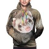 Men's Hooded Special Cute Ferret Sweatshirt Print Hooded Top Hoodie Black/White/Navy/Gray