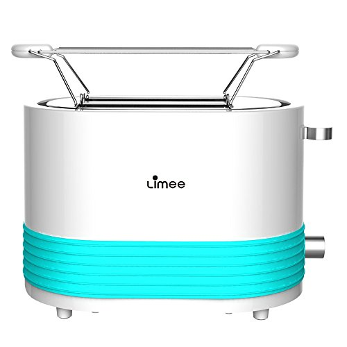 Limee TR0703-bun warmmer 2 slice toaster with wide slots and silicone ring glossy plastic blue