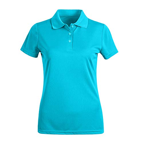 (Corna Ladies Slim Fit Moisture Wicking Solid Color Polo Shirt with Collar in S-3XL 3 Buttons Short Sleeve Sky Blue M)