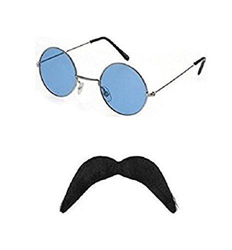 Blue Planet Online Hippie Sunglasses And Moustache 1960S 1970S Fancy Dress - Sunglasses 1970