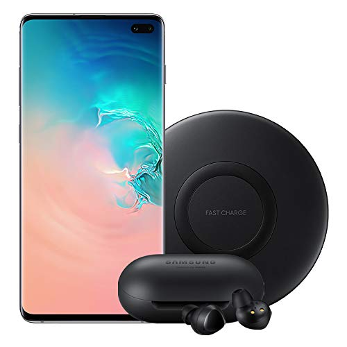 Samsung Galaxy S10 Factory Unlocked Phone with 512GB (U.S. Warranty), Prism White with Bluetooth True Wireless Earbuds and Wireless Charger Pad