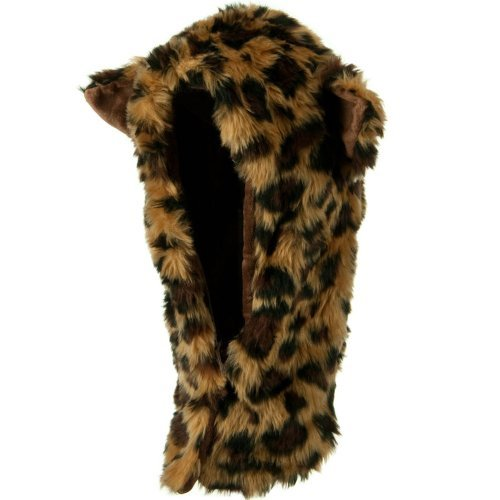 Furry Animal Hood Hat - Leopard OSFM - Leopard Hood