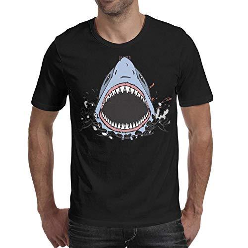 Great White Shark BiteYouth Short Sleeve t-Shirt Fitness Stitching T-Shirt t Shirts for Men ()