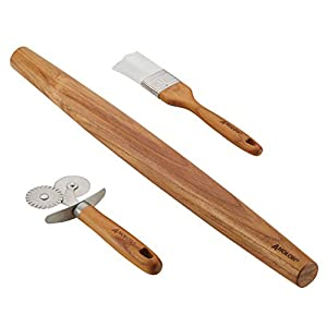 Anolon Tools and Gadgets 3-Piece Prep Set Pastry Wheel Cutter, Pastry Brush, 19″ French Rolling Pin