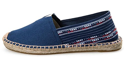 IDIFU Womens Mens Couple Slip On Canvas espadrilles Flats Shoes Blue GcNZx3