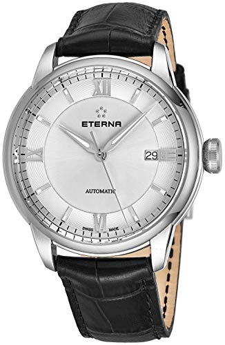(Eterna Eternity Adventic Mens Automatic Watch - 41mm Silver Face with Luminous Hands, Date and Sapphire Crystal - Stainless Steel Black Leather Band Swiss Made Classic Luxury Watch 2970.41.62.1326)
