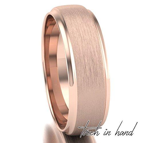 Rose Gold Brushed and Polished Comfort Fit Step Edge Wedding Band, 10k Solid Rose Gold 6mm Wide, Matte Wedding Band, Light Brushed Wedding Band