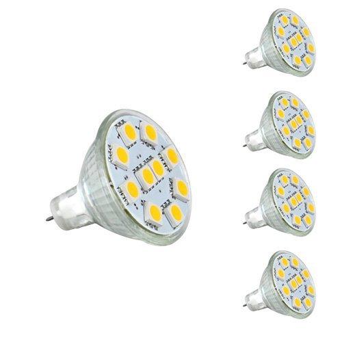 - ONDENN 1.8W MR11 GU4.0 LED Bulbs, 20W Halogen Bulbs Equivalent, GU4 Base, 165lm, 12V AC/DC, 120° LED Spotlight, Warm White, 3000K, LED Light Bulbs, Pack of 5