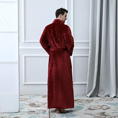 Notte Pile Rosso Per Giacca Casa hotel Vestaglia Cintura Corallo Aoopoo Uomo Da Invernale Con In qBwFx10