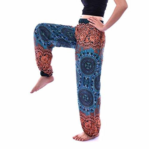 AmyDong Yoga Pants, Men Women High Waist Yoga Pants Thai Harem Loose Trousers Boho Festival Hippy Smock Lantern Pants Cotton (Free Size, Green)