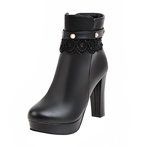 YE Damen Blockabsatz Ankle Boots Stiefeletten High Heels mit Reißverschluss und Spitze 10cm Elegant Süß Schuhe Schwarz