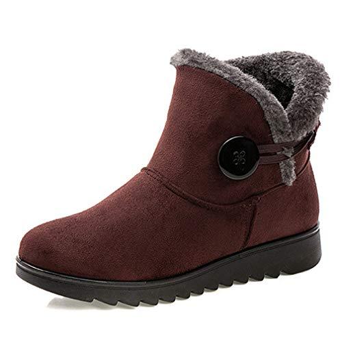 Winter Women Snow Boots Cotton Waterproof Warm Fur Ankle Boots Solid Platform Anti-Slip Plush Boots Brown]()