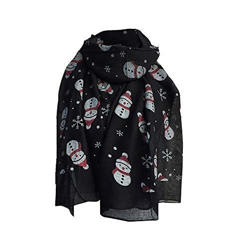 Christmas Scarf Autumn Winter Warm Snowman Print Shawl Scarves for Women (Cream Silk Blazer)