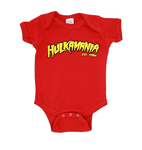 Hulkamania Hulk Hogan Logo Red Snapsuit Infant Onesie Baby Romper (12 (Kids Hulk Hogan Costume)