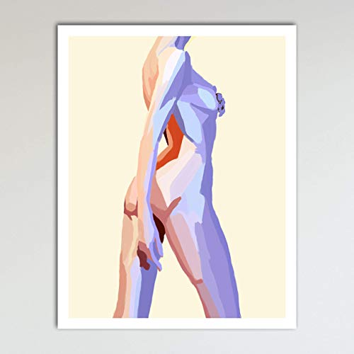 Colorful Nude, Abstract Contemporary Woman Home Wall Art Decor Print Poster Modern Contemporary Boho Bedroom and Home Decor 11x14 Inches, Unframed