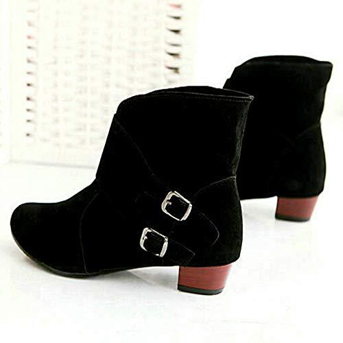 Martin Pour Mode Noires Rond Classiques Carrs Kobay La Chaussures Talons Bout Bottes Dames Boucles Bottines SCPwq