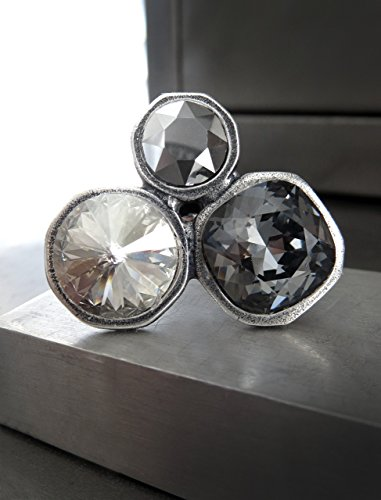 Large Trio Crystal Cocktail Ring, Three Swarovski Crystals in Silver, Chrome and Black Diamond on Adjustable - Trio Monochromatic