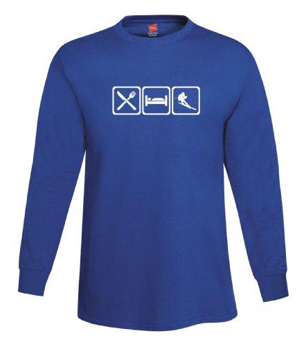 ShirtLoco Men's Eat Sleep Ski Long Sleeve T-Shirt, Deep Royal Extra ()