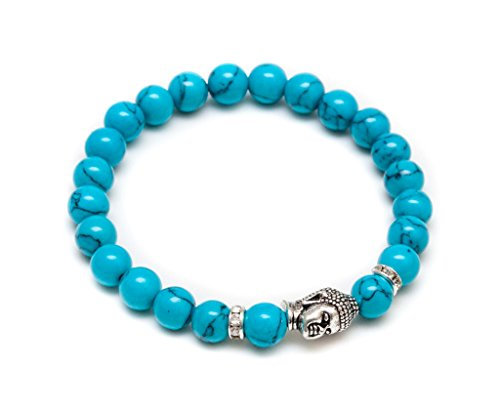 ZENGER Jewelry Mens Vintage Buddha Beaded Stretch Bracelet - 8mm Turquoise Semi-Precious