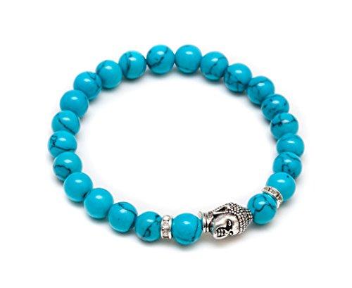 ZENGER Jewelry Mens Vintage Buddha Beaded Stretch Bracelet - 8mm Turquoise Semi-Precious