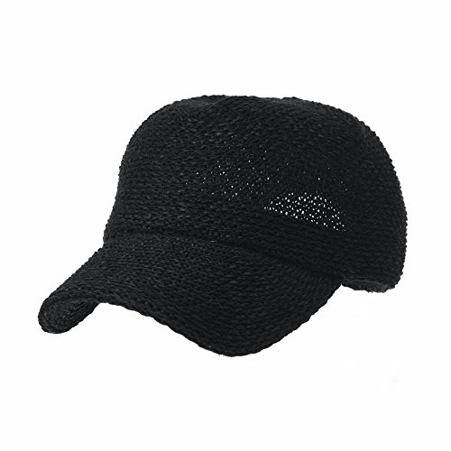 WITHMOONS Baseball Cap Summer Cool Paperstraw Cotton Mesh Ballcap for Men Women KR1960 (Black)