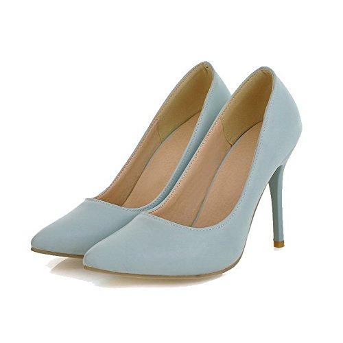 VogueZone009 Damen Hoher Absatz Rein Ziehen auf PU Spitz Zehe Pumps Schuhe Blau