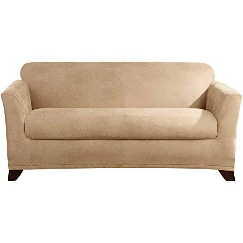 (Aromzen Stretch Leather Separate Seat T-Cushion Loveseat Slipcover, Camel)