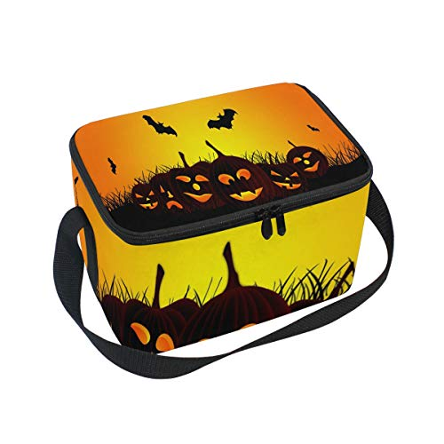 Halloween Grass Lantern Insulated Lunch Bag Tote Bag Cooler Lunchbox for Picnic School Women Men -