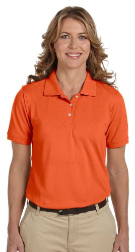 Harriton Ladies Easy Blend Cotton Pique Polo Shirt, TEAM ORANGE, X-Large
