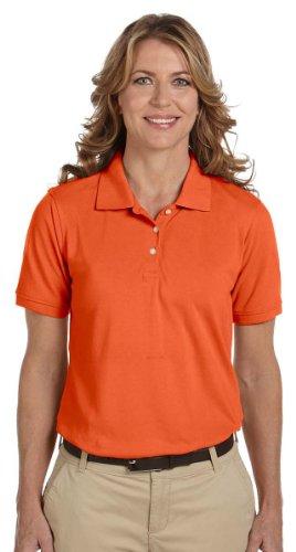 Harriton Ladies Easy Blend Cotton Pique Polo Shirt, TEAM ORANGE, X-Large