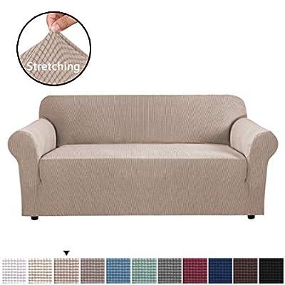 H.VERSAILTEX High Stretch 1 Piece Sofa Slipcover Sofa Cover Lycra Jacquard Spandex Couch Cover Machine Washable