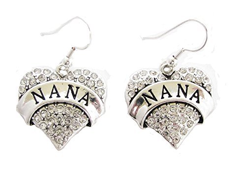 (Nana Heart Clear Crystals Silver French Hook Earrings)