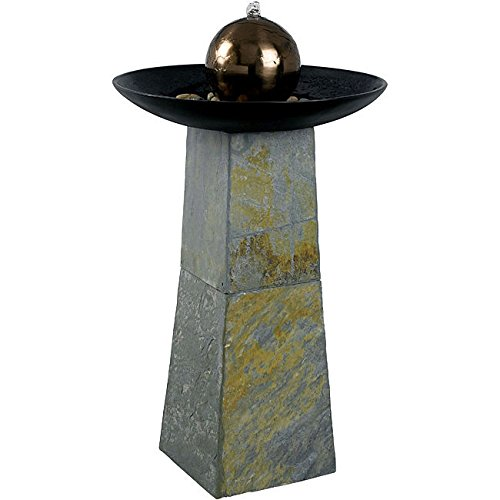 Portable And Durable Pontus Outdoor Fountain With Natural Green Slate Base ()