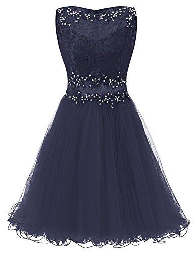 JYDress - Vestido - trapecio - para mujer azul marino