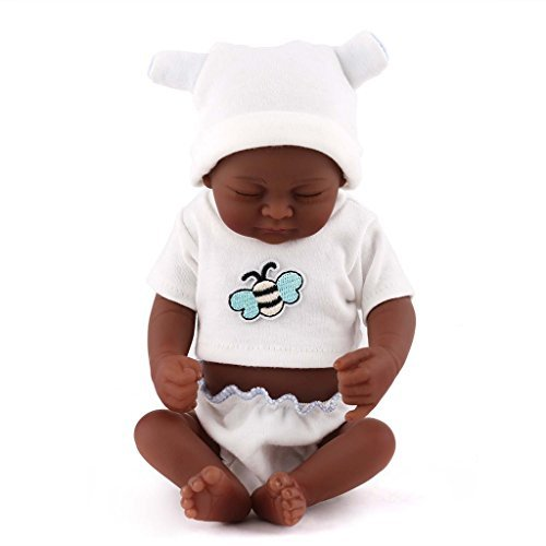 TERABITHIA Mini 10 Zoll Schwarz Niedlich Wirklich lebendig Neugeborene African American Baby Puppen Silikon Ganzkörper Waschbar für Mädchen NPK
