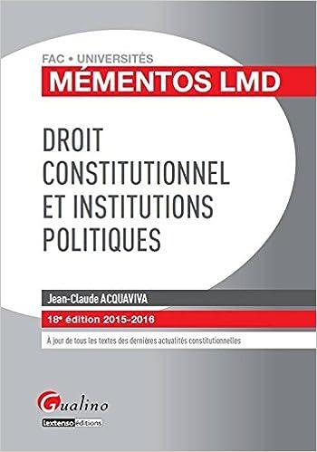 Livres gratuits en ligne Droit constitutionnel et institutions politiques epub, pdf